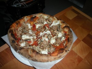 goat cheese, red pepper, mushroom & sausage pizza