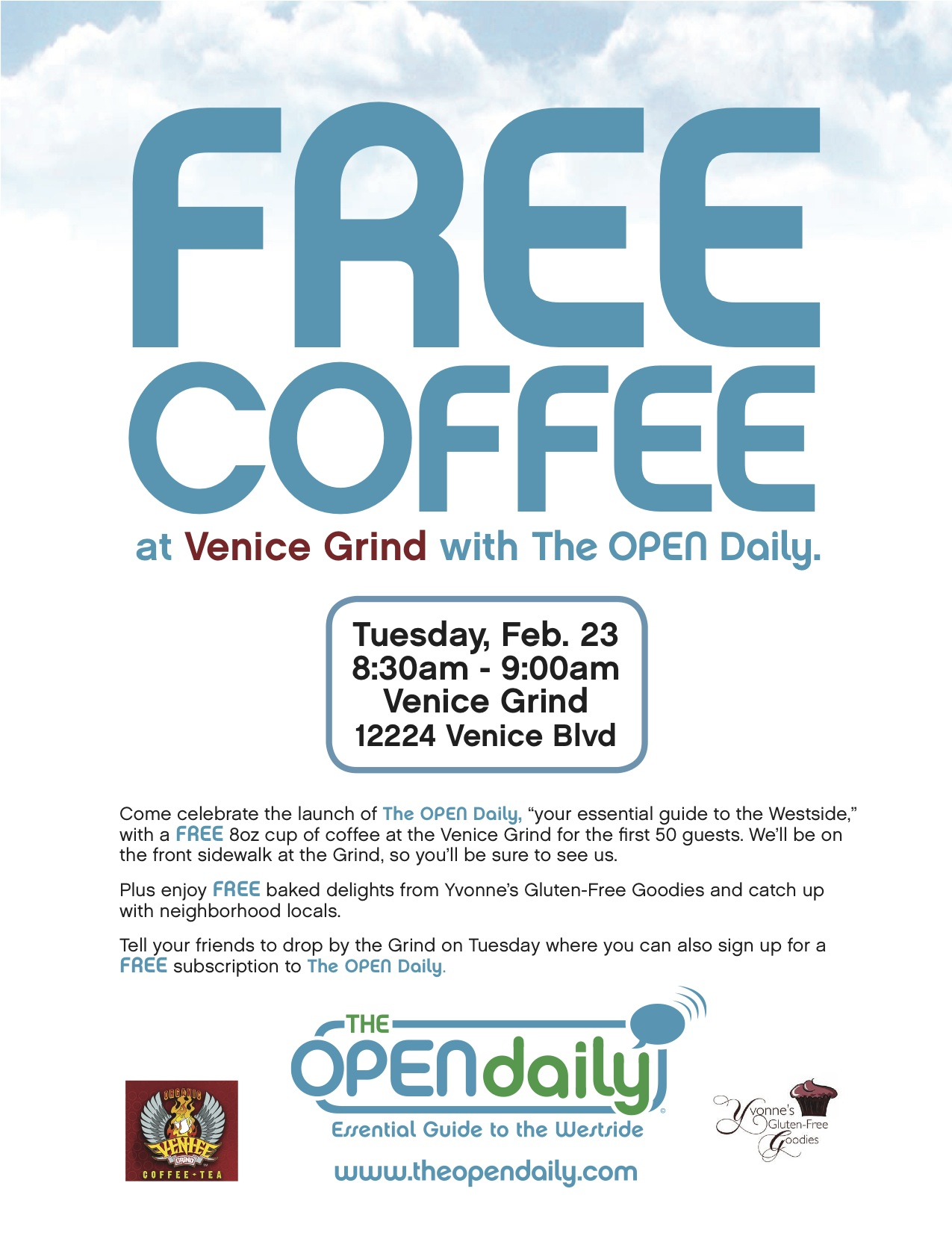 Free Coffee at the Venice Grind 2/23 8:30am