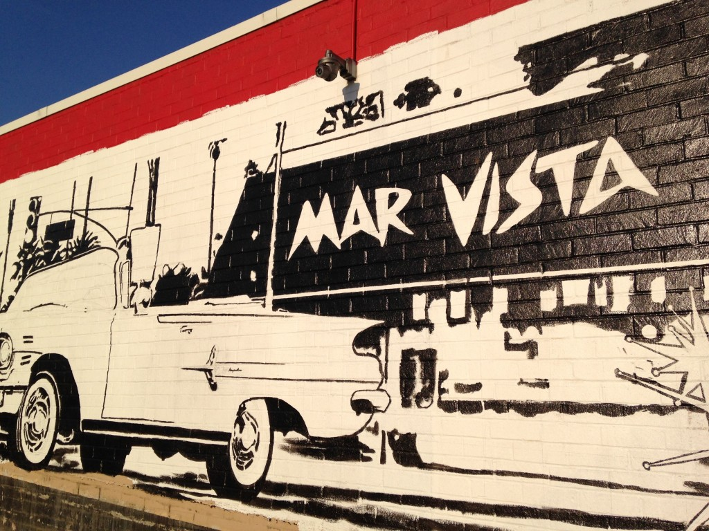 the Mar Vista sign and car - unfinished Mar Vista Mural by Jonas Never