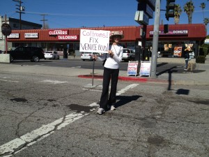 Linda Jones protest Venice Blvd. Potholes Caltrans