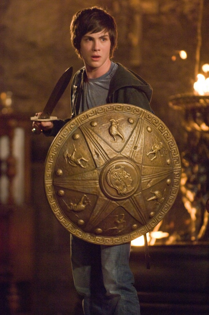 Percy Jackson with a sword and shield