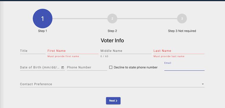 voter info section voter application