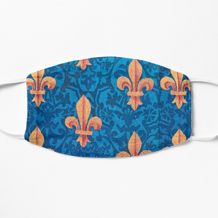 blue and gold sword mask