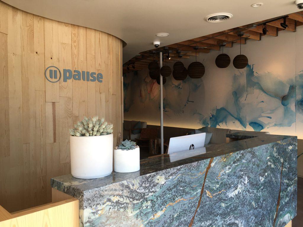 reception area at Pause Float Studio